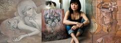 Молодая женщина азиатской внешности на фоне картин с девушками