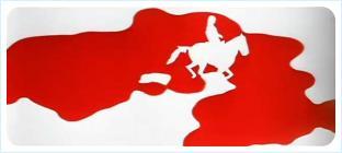 На фоне кровавого пятна силуэт Лошади со всадником