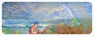 Небесные высшие сферы и на берегу моря мальчика-Ньютон подбирающего камушки