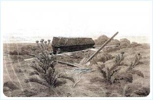 Могила и гроб над нею