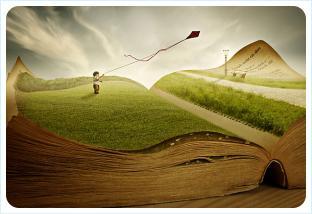 Мальчик запускает воздушного змея со страниц книги